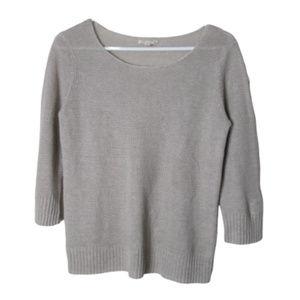 Eileen fisher light gray pure linen 3/4 sleeve top